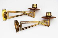 Set of two copper Art Deco piano candlesticks