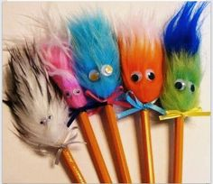 Fuzzy pencil toppers!