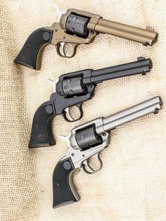 This is reflected in the number of single-action revolvers offered by current gunmakers. Ruger's single-actions have long been favorites of cowboy action shooters and others who shoot for fun. Shooting Guns, Shooting Range, Weapons Guns, Guns And Ammo, Ruger Revolver, Tactical Revolver, 9mm Pistol, Single Action Revolvers, 357 Magnum