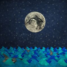 Moonswim by Greg Noblin Digital Photographic Illustration: Orcas swimming with one jumping in front of the moon.
