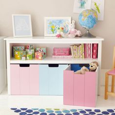 White Easy Reach Storage Unit With Reversible Drawers Toy Bo