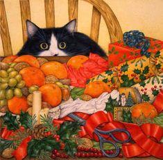 Gato entre frutas de Navidad