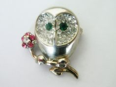 Vintage Owl Jewelry / Owl Brooch / Pin / Rhinestone Jewelry / Rhinestone Pin / Figural Jewelry / Owl Rhinestone Jewelry / Free Shipping! by TamJewelryandUniques on Etsy