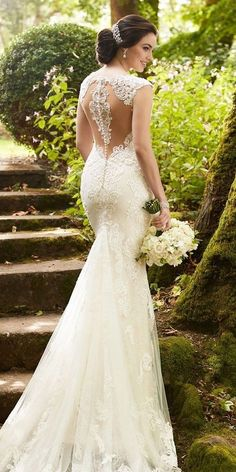 Lace wedding dress idea - fit-and-flare dress with cap sleeves, deep neckline and lace, illusion back. Style 847 by Find more gown inspiration by Martina Liana on Spring 2017 Wedding Dresses, Fit And Flare Wedding Dress, Classic Wedding Dress, Wedding Dress Sleeves, Designer Wedding Dresses, Bridal Dresses, Wedding Gowns, Lace Dress, Gown Dress