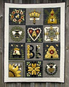 Bee quilt, artist not attributed. use paper to make a great inchie project