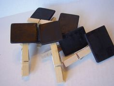 Assortment of Wooden Chalkboard name/price tags. $8.00, via Etsy.