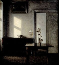 Interior with Potted Plant on Card Table ~ artist Vilhelm Hammershøi, c.1910-11. Oil on canvas, 71w x 78.5h cm. Malmo Art Museum, Copenhagen, Denmark #art #painting #interior