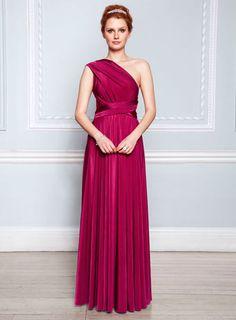 Fuchsia Long Twist & Wrap Dress - bridesmaid dresses - adult bridesmaids  - Wedding