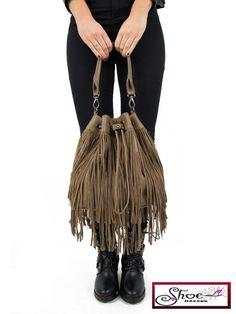 Womens Retro Suede Tassels Look Fringe Messanger Bag Shoulder Handbag Taupe