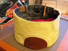recycled denim - crafts bowl or bucket