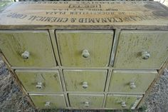 Original Vintage American Cyanamid & Chemical Corp Apothecary Box Cabinet 9 drawers