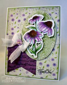 To create my card, I stamped on Flourishes Classic White using Memento Tuxedo Black and then grabbed my Copic Markers-Violet, Pistachio, Terra Cots, Flesh Tones, Iced Aqua. Used retired Bo Bunny and Memory Box paper-white cotton linen ribbon