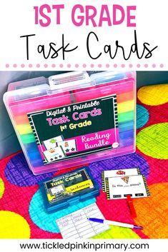 First Grade Task Cards (printable version) First Grade Writing, Teaching First Grade, First Grade Reading, First Grade Classroom, Autism Classroom, Classroom Language, 1st Grade Math, Geometry Activities, Phonics Activities