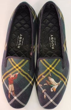 """Polo Rugby Gents Tartan Plaid Duck Huntsman Embroidered Slippers"" Sz: 12"" (US)/ 11""(UK)"