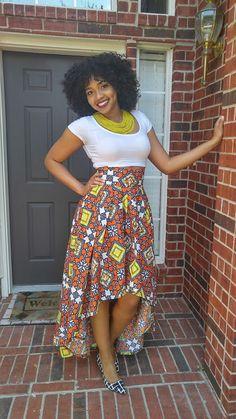Ankara skirt African skirt African wax High Low skirt by Oludan Women Fashion African Fashion Skirts, African Fashion Designers, African Men Fashion, Africa Fashion, Skirt Fashion, Fashion Outfits, Fashion Ideas, Fashion Styles, Fashion Trends