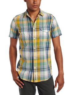 Ben Sherman Men's Linen Cotton Madras Check Short Sleeve Woven Shirt in Fly Green