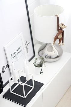 Via Noe pa Hjertet | Design Letters by Arne Jacobsen | Teak Monkey by Kay Bojesen | Candle holder By Lassen