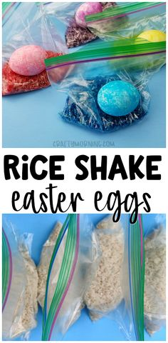 shake easter egg decorating - fun and unique easter egg idea for the kids. Bright colors and less mess for toddlers.Rice shake easter egg decorating - fun and unique easter egg idea for the kids. Bright colors and less mess for toddlers. Easter Egg Dye, Coloring Easter Eggs, Hoppy Easter, Egg Coloring, Shaving Cream Easter Eggs, Dying Eggs, Easter Eggs Kids, Easter Egg Basket, Easter Eggs