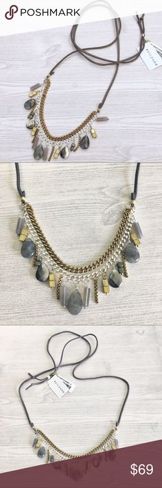 "Silpada Courtyard Chic Necklace Labradorite NWT Brand New!  Silpada Courtyard Chic adjustable sliding leather cord necklace 42"" in total length.  Beautiful stones and embellishments made up of:  labradorite, pyrite, brass, and Sterling. Silpada Jewelry Necklaces"