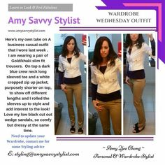 Every Wednesday I'll be sharing my own looks and how I mix and match garments Heres an example below :  Heres A Business casual look I wore last week!   Amy's styling tip :    Don't be afraid to wear different coloured pants for work other than the usual black and grey ! Just as long as the style is suitable for a work / office environment ! #amysavvystylist #wardrobestylist #personalshopper #personalstylist #businesscasual #outfits #outfitoftheday