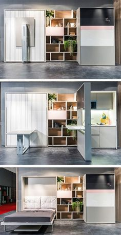 A drop down table on one side and a kitchen counter on the other. What's amazing is you can also pull out a bed from it. It's also got all the spaces you need for anything you want to place on there. Just this and you can have anything in a small room.