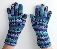 Rukavice ručně pletené modrá bílá pletené pestré zimní vlna podzimní rukavice rukavičky prstové ivka polyamid
