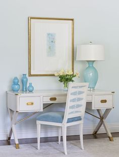 bedroom desk with turquoise accents