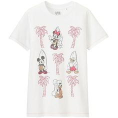 UNIQLO Women's Disney Project Graphic Tee (£11) ❤ liked on Polyvore featuring tops, t-shirts, uniqlo t shirts, white tee, swim tee, white swim top and summer tops