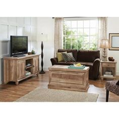 """Better Homes and Gardens Crossmill Weathered Collection TV Stand for TVs up to 65"""", Lintel Oak"""
