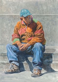 Seated Man  Watercolor on hot pressed Arches WC Paper 140 lbs 10' X 14'