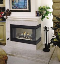 Vantage Hearth B Vent Gas Corner Fireplace - Kamin Idee Wooden Fireplace, Double Sided Fireplace, Small Fireplace, Concrete Fireplace, Fireplace Hearth, Home Fireplace, Marble Fireplaces, Fireplace Remodel, Living Room With Fireplace