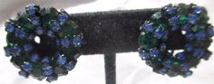 BLUE AND LARGER GREEN RHINESTONE CLIP ON EARRINGS JAPANNED BLACK METAL LOVELY