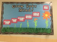 Lots of choices of Growth Mindset bulletin board ideas Growth Mindset Display, Growth Mindset Classroom, Growth Mindset Activities, Bulletin Board Growth Mindset, Growth Mindset For Kids, Counseling Bulletin Boards, Classroom Bulletin Boards, School Counseling, Kindergarten Bulletin Boards