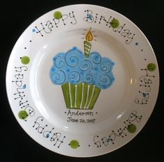 Hand Painted Birthday Plate  Blue and Green by cutiepatooties1, $33.50