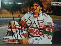 NELSON PIQUET ARISCO AUTOGRAPH POSTCARD SIGNED 1987 ? F1 Jochen Rindt, Isco, Formula 1, F1, Baseball Cards, Signs, Ebay, Signage