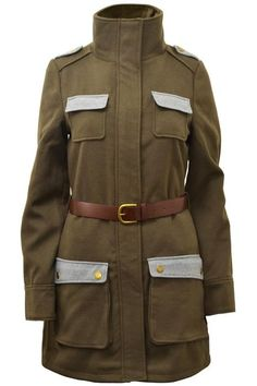 NEW Republic Crafted Khaki Belted Military Coat Jacket 8 10 12 14 16 RRP £59.99