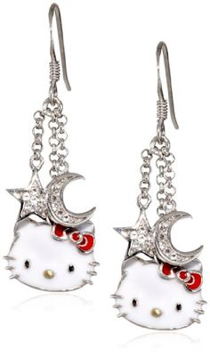 Hello Kitty by Simmons Jewelry Co. Sterling Silver Hello Kitty Diamond and White Sapphire Earrings: Jewelry: Amazon.com