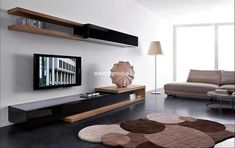 living room tv wall unit designs Modern Living Room with Slim Wall Mounted TV Unit Design Dream Living Room Tv, Living Room Modern, Living Room Designs, Bedroom Designs, Tv Furniture, Living Room Furniture, Cabinet Furniture, Furniture Ideas, Modern Furniture