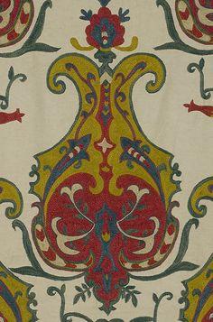 Bukhara silk embroidery, Central Asian textile, Uzbekistan.