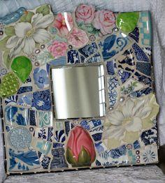 Roses and Dogwood Mosaic by Lisabetzmosaicart on Etsy, $145.00