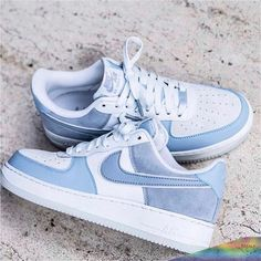 Nike Airforce 1 LTBlue Go off on emotions, dress spontaneously, just how you feel Dr Shoes, Hype Shoes, Me Too Shoes, Pink Shoes, Sneaker Outfits, Sneakers Fashion Outfits, Jeans Fashion, Jordan Shoes Girls, Girls Shoes