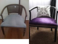 $7.99 Chair from #Goodwill.   Painted black and added deep purple fabric with gold trim.  #thrift