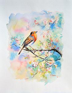 Pettirosso al canto 40 x 32 by WatercolorsRavera on Etsy, €190.00