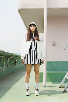 NAMI KIM - Andersson Bell Ma 1, Luckychouette Dress, Joyrich Backpack, Uniqlo Socks, Jouettie Shoes - Black n white stripe