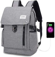 Toller Rucksack  Dieser Wanderrucksack besteht aus pflegeleichtem und wasserdichtem Polyester, das reißfest und kratzfest ist. Abmessung: 47*31*15 cm . 1 großes Hauptfach, gepolsterte Fächer für Laptops bis 15.6Zoll, 1 gepolsterte Tasche für 9,7 Zoll Tablet. Innen kleine Taschen für Kopfhörer, Stifte. Seitentaschen außen, Reißverschlusstaschen vorne, Diebstahlschutztaschen hinten für häufig verwendete Dinge. Mit dem integrierten USB-Anschluss können Sie Ihre eigene Power Bank im Inneren… Laptop Rucksack, Laptops, Fashion Backpack, Backpacks, Bags, Awesome Backpacks, Small Bags, Side Bags, Zipper Bags