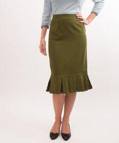 Vintage Pencil Skirt  50s Skirt  Moss Green by concettascloset, $56.00