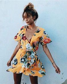 e30431d779e Ropa Casual, Vestido Amarillo, Primavera Verano, Costura, Vestidos  Sencillos, Vestidos A