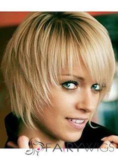 Blonde Short 100% Human Hair Straight Capless Wigs