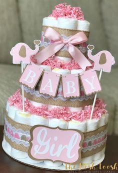Pink Brown Elephant Diaper Cake Baby Shower Decor by ThePoshToosh
