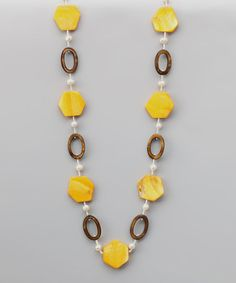Take a look at this Yellow Seashell & Pearl Necklace by Embassy Jewels on #zulily today!